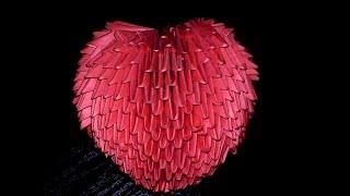 Модульное оригами объемное сердце валентинка (схема сборки, пошаговая инструкция)