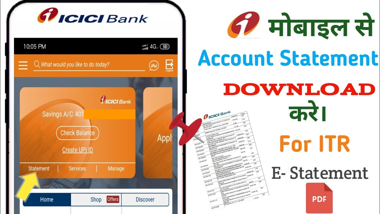 Icici Bank Account Statement How To View Download Account Statement Youtube