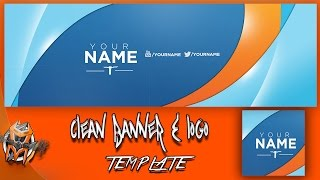 Clean youtube Banner and Logo - Photoshop  Template
