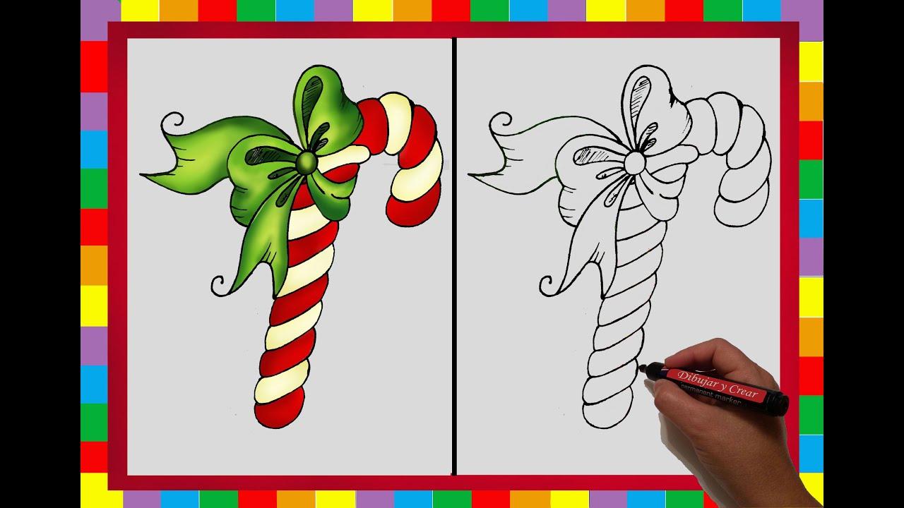 Especial navidad n 8 como dibujar un baston de caramelo - Caramelos de navidad ...