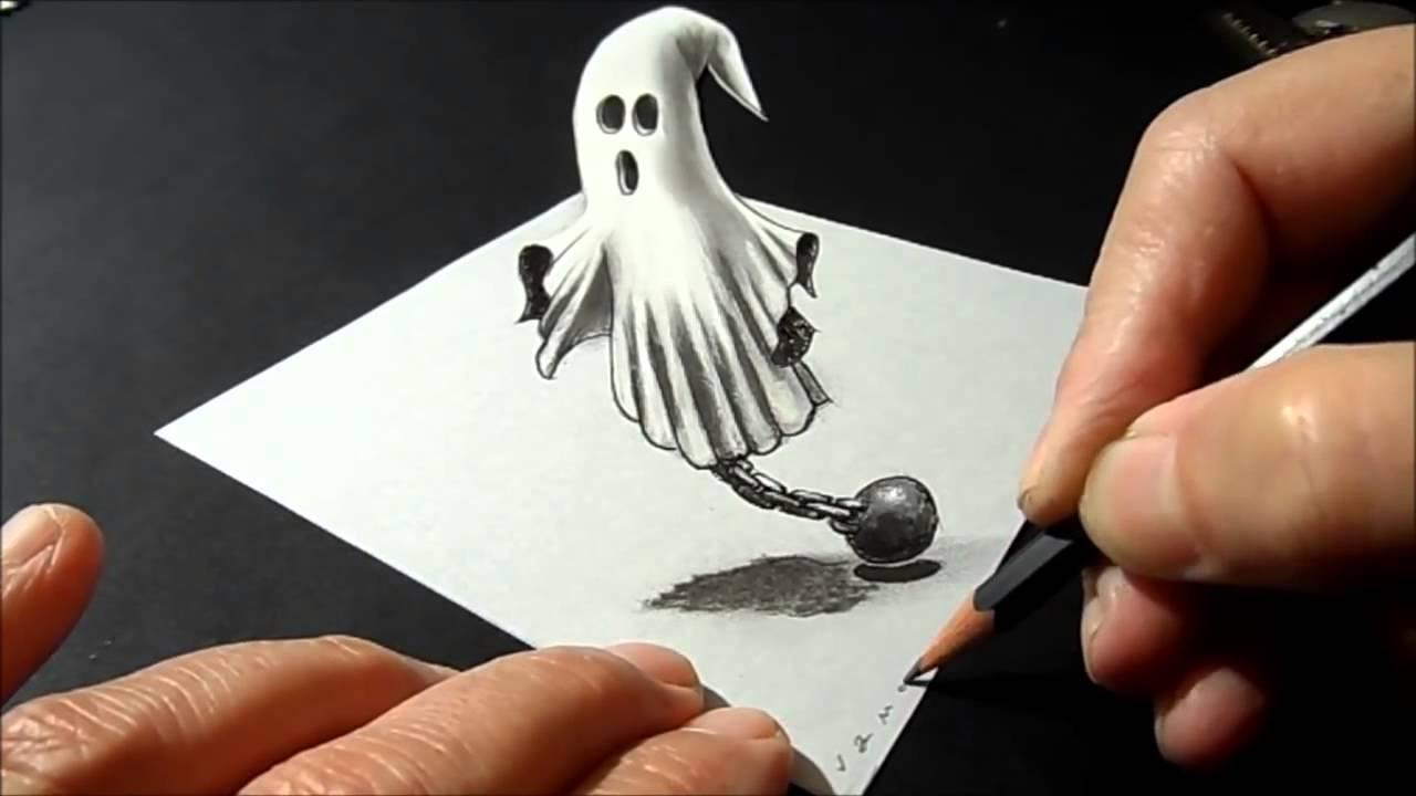 Como dibujar un fantasma en 3d youtube for Dibujar un mueble en 3d