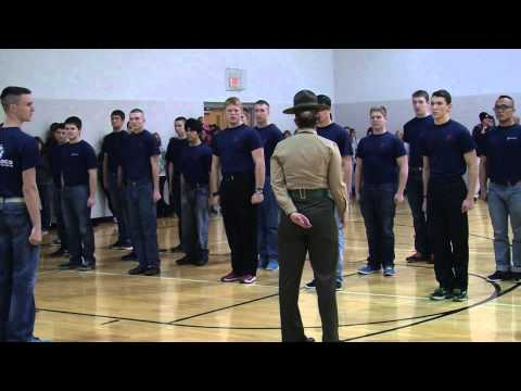 Family Night for US Marine Corps recruits; a look at the drill instructor's responsibility