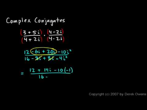 Algebra 2  4.4j - Complex Numbers, Part 10 - Complex Conjugates Example