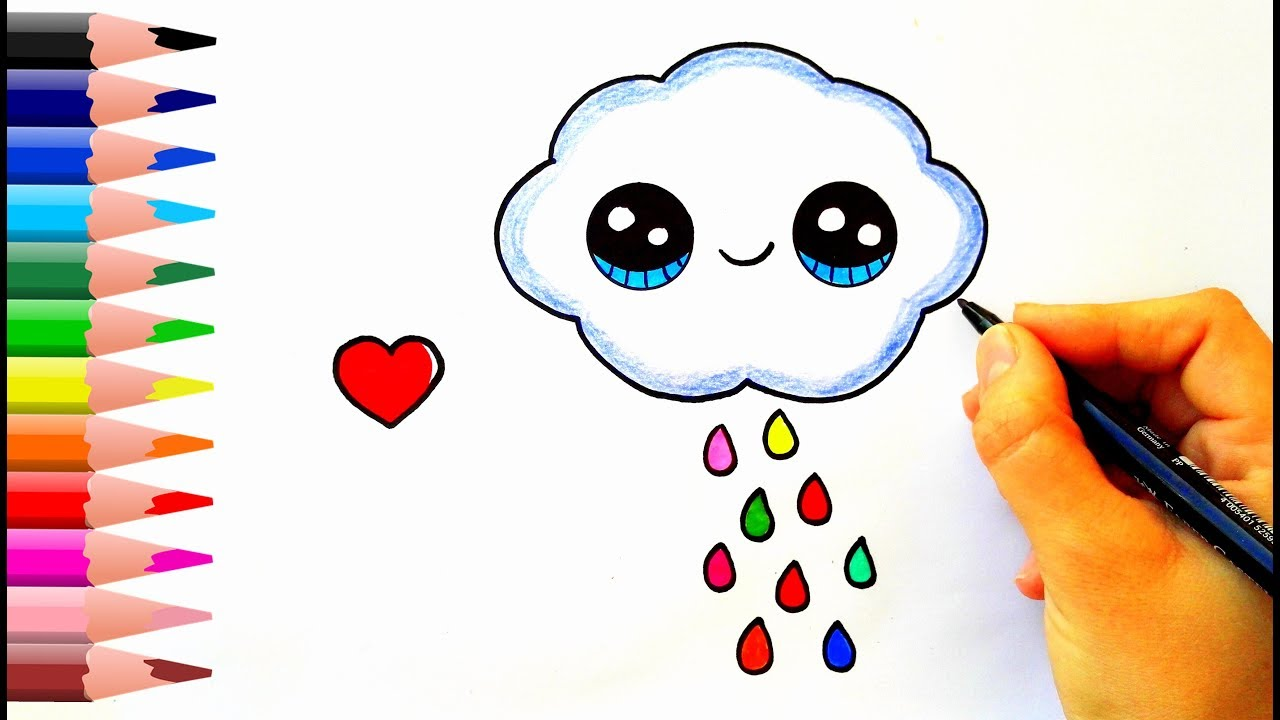 How To Draw A Rain Cloud Yagmur Bulutu Nasil Cizilir Youtube