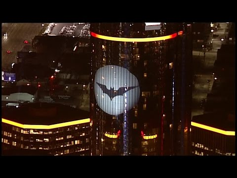The Bat Signal on the Ren Cen