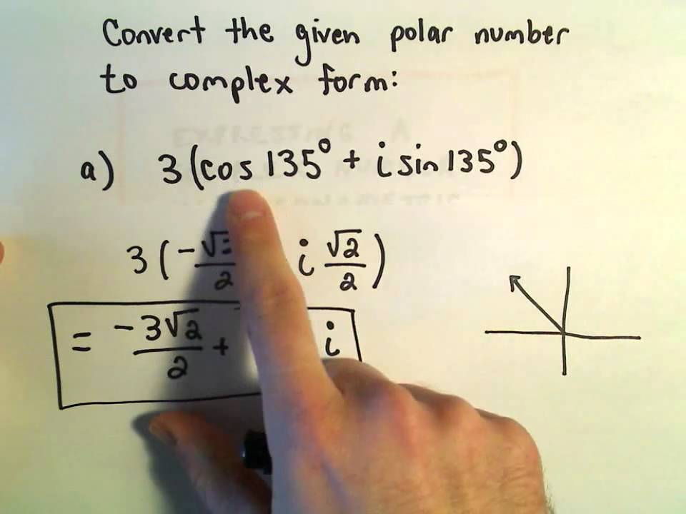 Complex Numbers: Convert From Polar to Complex Form, Ex 1 - YouTube