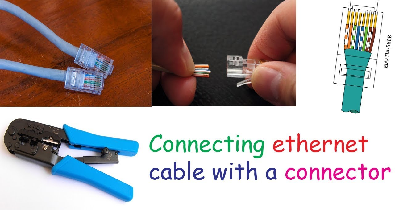 how to connect ethernet cable with a connector making patch cable