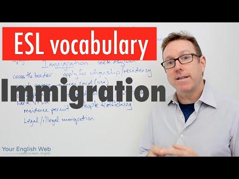 English vocabulary lesson B2 - Immigration - Vocabulario en inglés