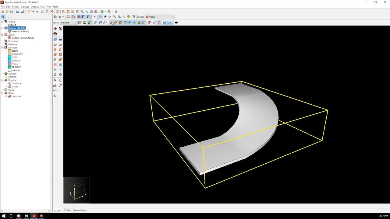 Create Curved Ramp Geometry in SketchUp for PyroSim