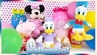 Uova Play doh ovetti Kinder sorpresa Minnie Peppa pig ita Paperina Paperino palloncini con sorpresa
