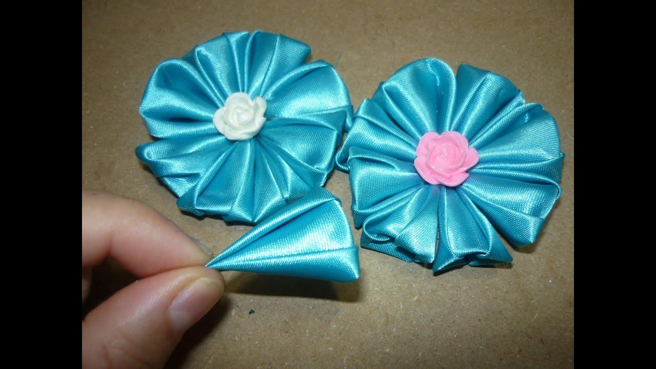 Flor de tela kanzashi para ganchos how to make kanzashi flower satin fabric youtube - Como hacer manualidades con tela ...