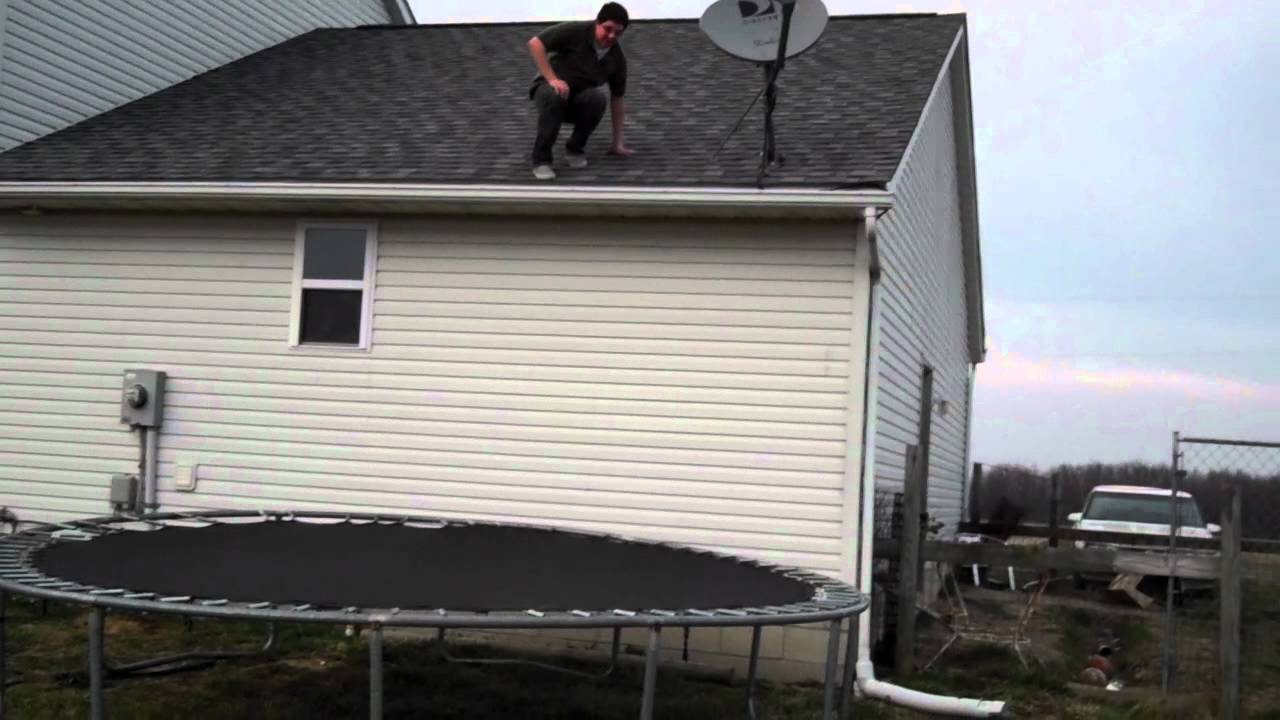 Bitch Ass Man Jumping Off Roof Onto Trampoline Read