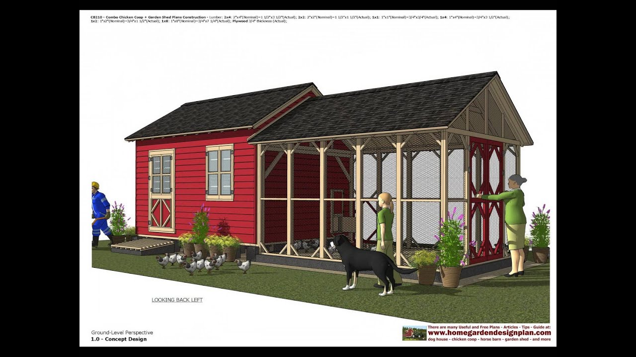 Cb210 Combo En Coop Garden Shed Plans Construction