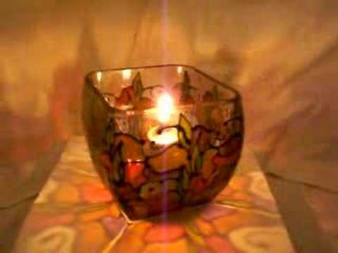 hand painted glass candleholder