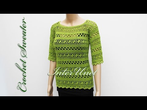 Sweater with short sleeves – pullover crochet pattern.