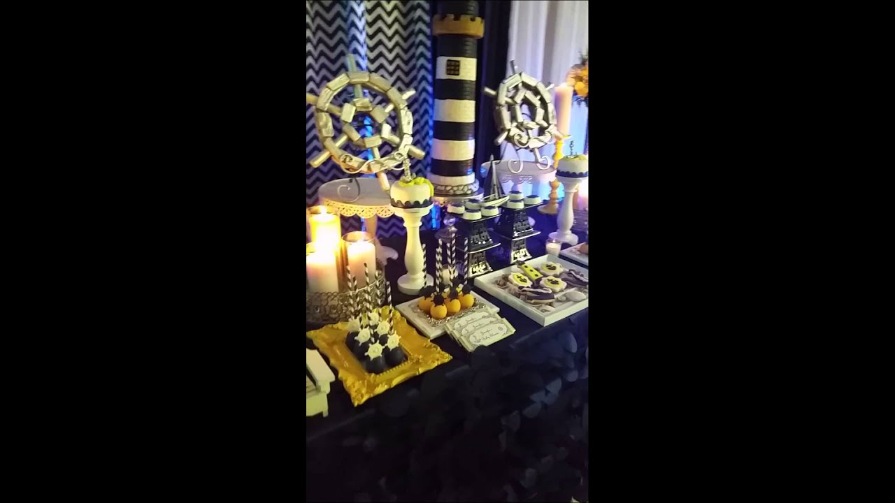 Elegant nautical baby shower youtube for Baby shower nautical decoration