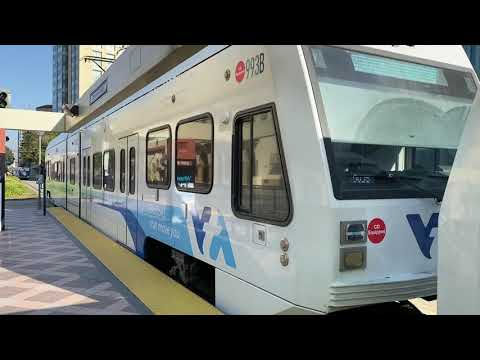 VTA: Mountain View Train departing Convention Center