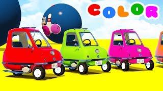 LEARN COLORS Small Cars Jump w/ Superheroes Video 3D Cartoon Nursery Rhymes for Babies