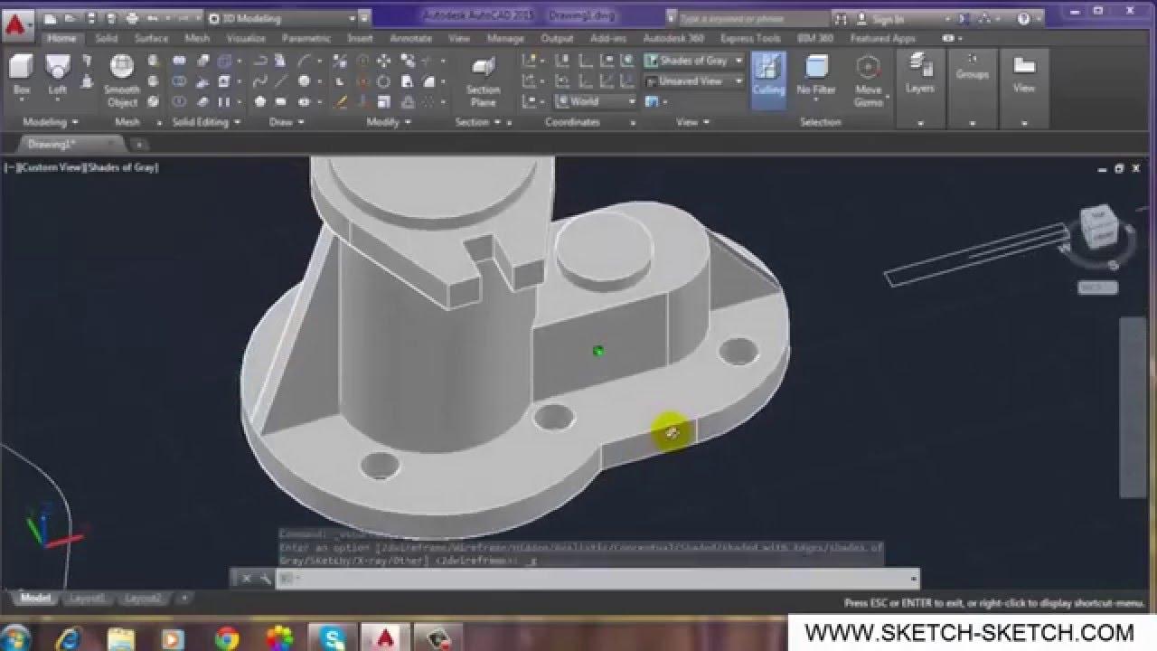 Belajar Autocad 2015 - Learn make 3D object #2 - YouTube