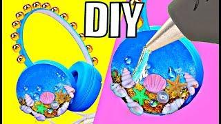 DIY НАУШНИКИ Океан // Летний DIY / ЛАЙФХАКИ с термоклеем для хендмейда   Headphones