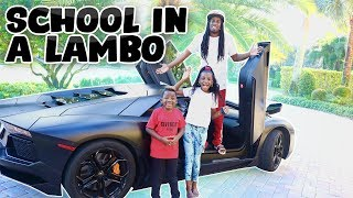 Picking up Our Sariyah and Dj from School in LAMBORGHINI