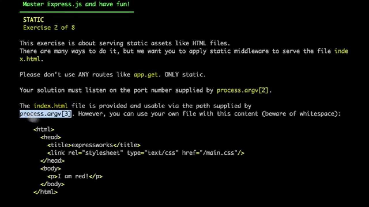 ExpressWorks: 2  Static Middleware [Solution]