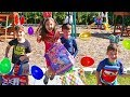 Hailey And Family Play Easter Surprise Eggs Hunt On The Playground & Open To