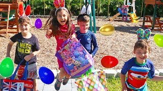 Hailey and Family Play Easter Surprise Eggs Hunt on the Playground & Open Toys