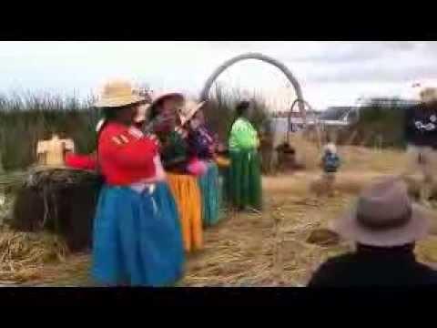 Islanders sing.Floating Islands.Peru.Lake Titicaca.South-America