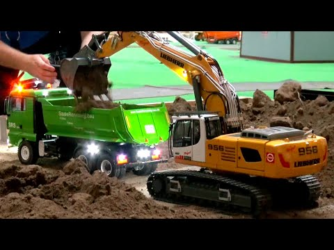 amazing-rc-truck-action//-rc-liebherr-956//-rc-fire-fighters//-heavy-haulage-rc-truck-transport//