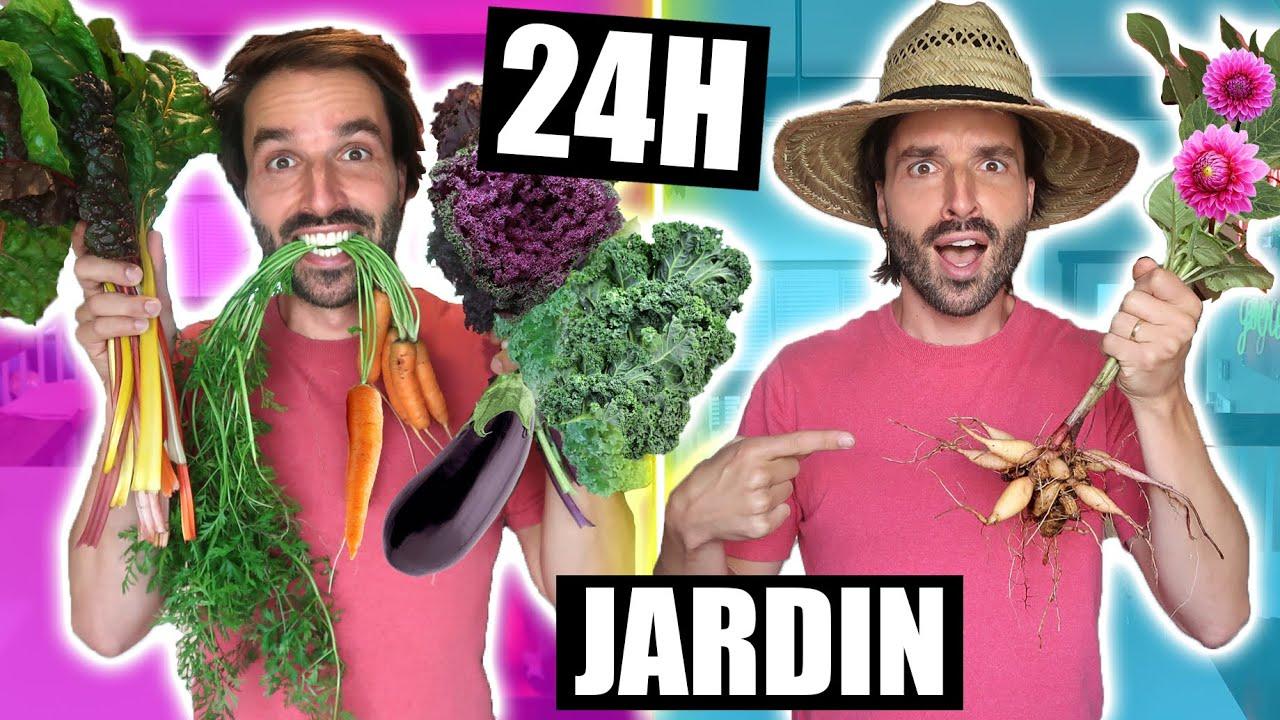 Je mange que la NOURRITURE DE MON JARDIN pendant 24 (zéro déchet) - CARL IS COOKING