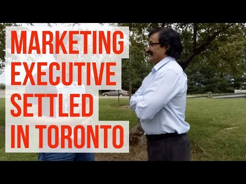 Abhijeet marketing client sharing his Canadian success story with Manoj Palwe in Toronto.