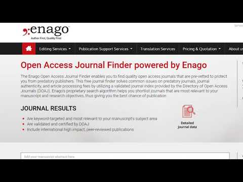 Open Access Journal Finder powered by Enago