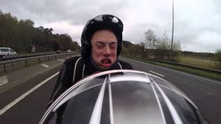 Open face helmet on sports bike