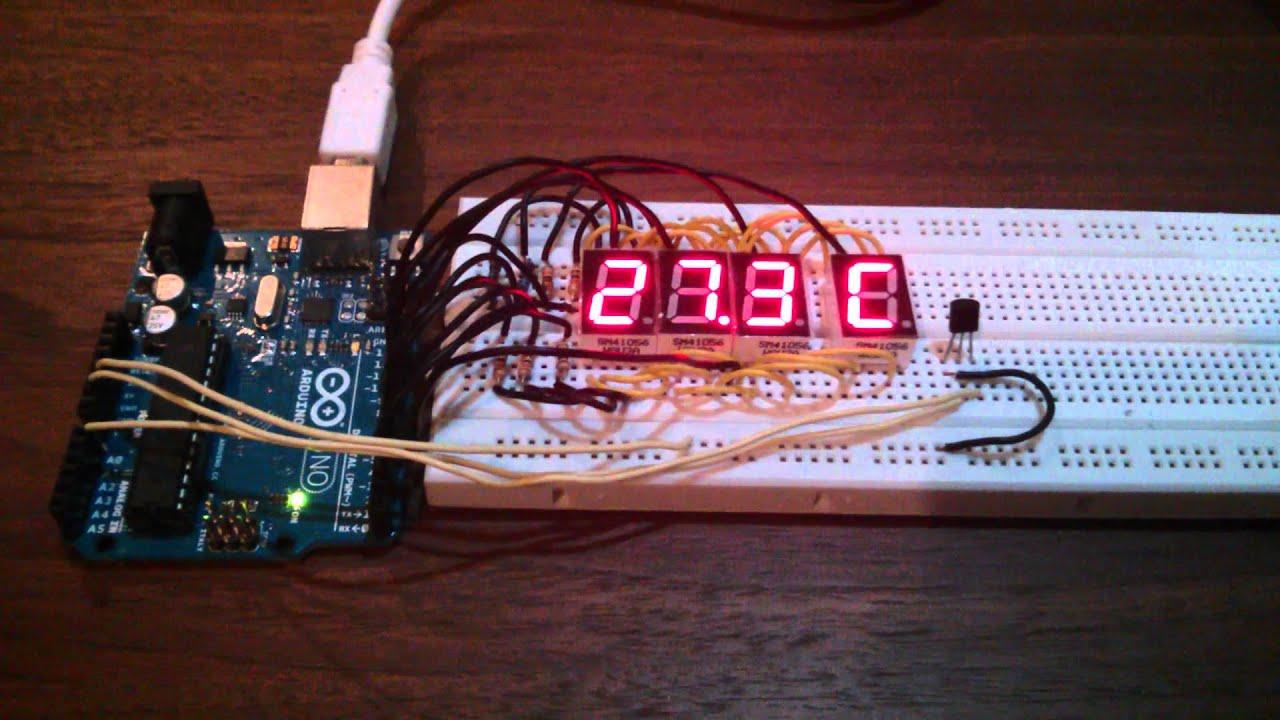 Arduino Measuring Temperature To 7 Segment Lcd Display