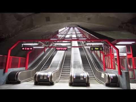 Sweden, Stockholm,  Duvbo subway station, escalator and inclined elevator rides