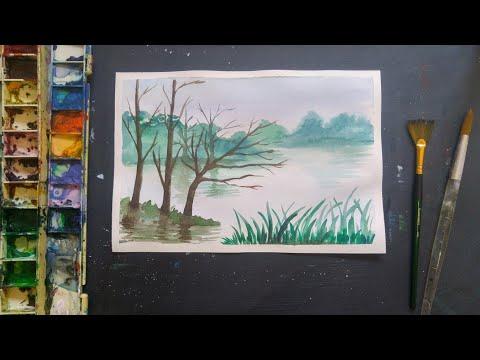 สอนวาดภาพวิวสีน้ำแบบง่ายๆ สีน้ำ watercolor