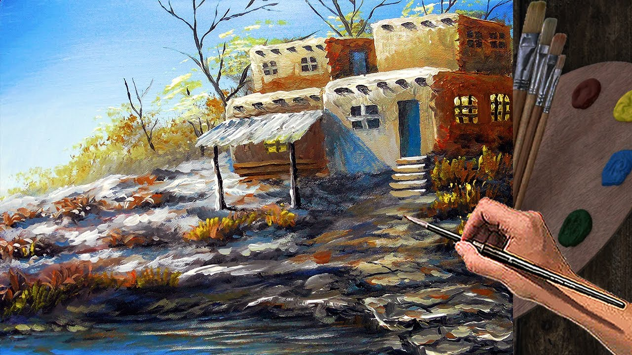 Acrylic Landscape Painting Basic Tutorial / Desert House with River