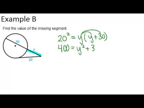 Segments from Secants and Tangents: Examples (Geometry