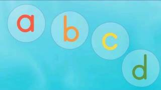 It's the classic ABC song with lower case letters in bubbles. Arran...