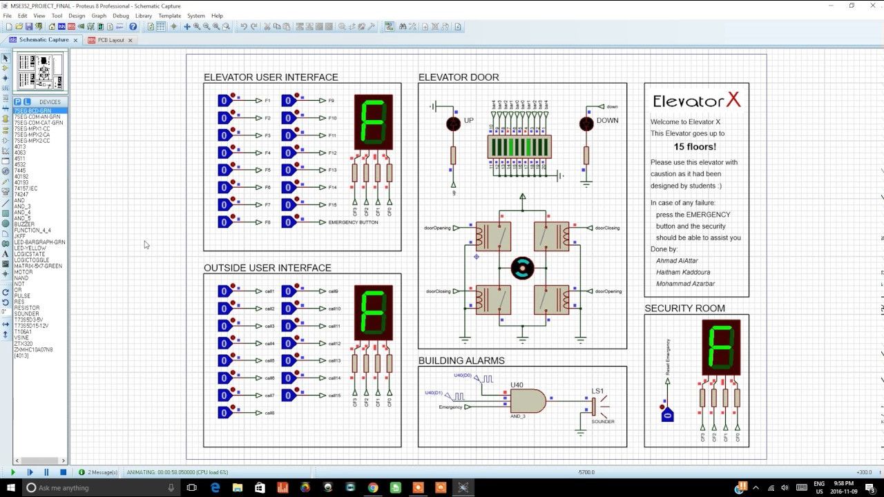 Elevator Project On Proteus Youtube Schematic