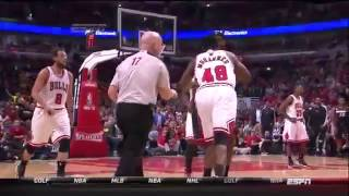 Mohammed get Lebron James Pushed Down By Nazr Mohammed! NBA Playoffs 2013