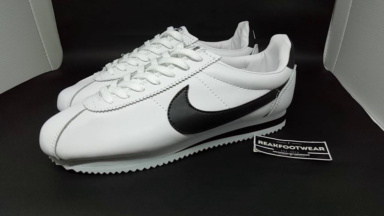 a8a2b42fe5c4 Nike cortez leather white black - YouTube