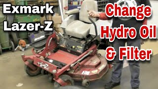 How To Change The Hydraulic Oil and Filter On An Exmark Lazer-Z - with Taryl