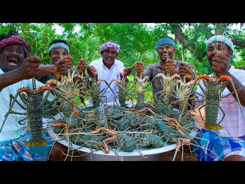 BIG LOBSTER | 50 KG Lobster Fry Cooking and Eating In Village | Lobster Recipes with Indian Masala