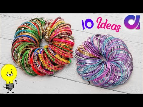 10 Awesome old bangles reuse idea at home | Best out of waste | Artkala