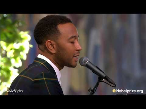 "John Legend performs live ""Redemption Song"" by Bob Marley at 2017 Nobel Peace Prize award ceremony"