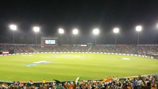 Cheering with 40000 people live at stadium and Dhoni finished with 4.