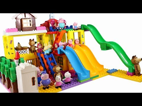 Thumbnail: Peppa Pig Blocks Mega House LEGO Creations Sets With Masha And The Bear Legos Toys For Kids #32
