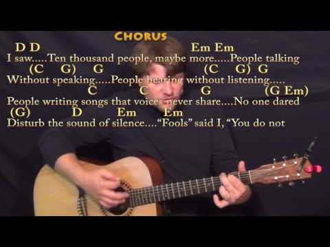 The Sound of Silence (Simon & Garfunkel) Strum Guitar Cover Lesson in Em with Chords/Lyrics